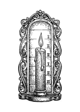 Ink sketch of candle clock.