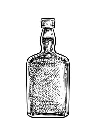 Ink sketch of whiskey bottle.