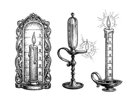 Ink sketch of fire clock.
