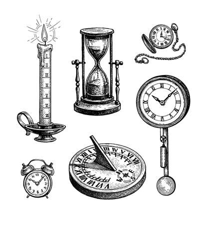 Different types of clocks. Stock Illustratie