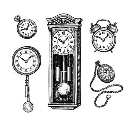 Different types of vintage clocks.