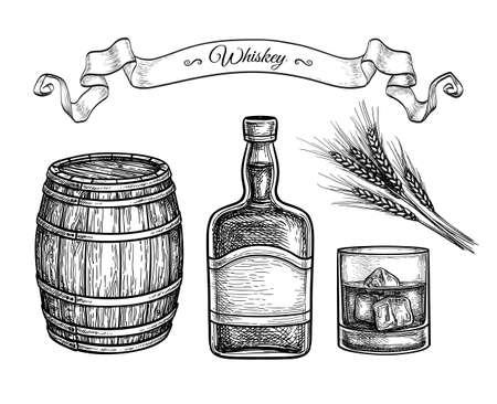 Ink sketch set of whiskey.