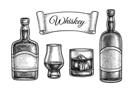 Ink sketch set of whiskey. Ilustração