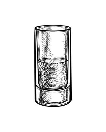 Ink sketch of whiskey glass Ilustração