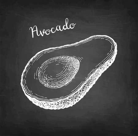 Chalk sketch of avocado.