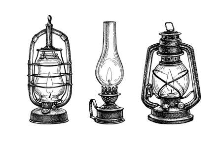 Ink sketches of kerosene lamps.