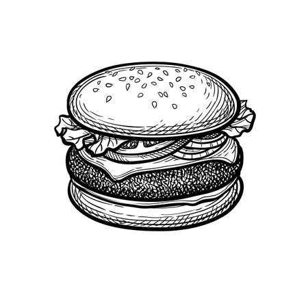 Ink sketch of hamburger. Vektorové ilustrace