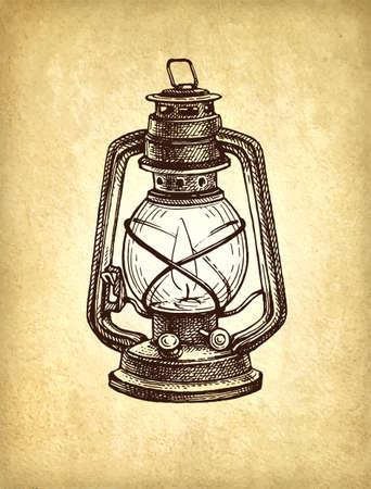 Ink sketch of kerosene lamp.