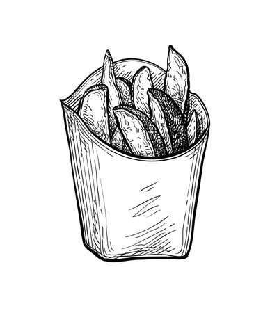 Ink sketch of potato wedges. Illustration