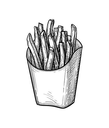Ink sketch of french fries.