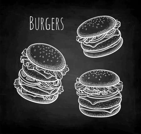 Chalk sketch of hamburger. Illustration