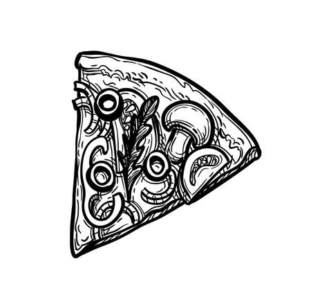 Ink sketch of pizza.