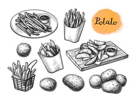 Ink sketch of fried potatoes.