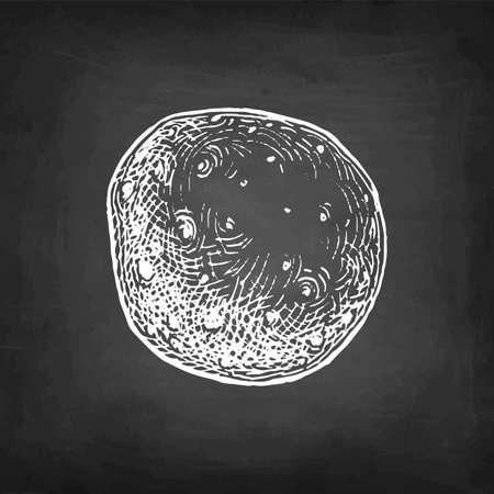 Chalk sketch of potato.