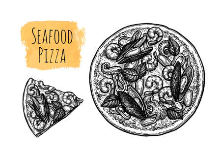 Ink sketch of seafood pizza.  イラスト・ベクター素材