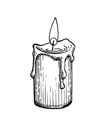 Ink sketch of burning candle.