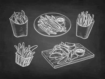 Chalk sketch of fried potatoes