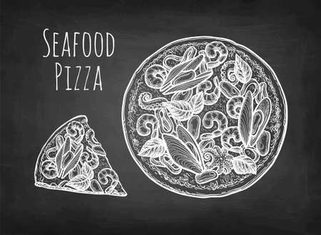 Chalk sketch of pizza.