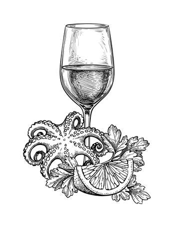 Ink sketch of wineglass and seafood.