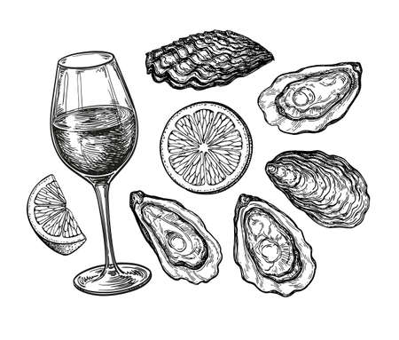 Ink sketch of wineglass and oysters.