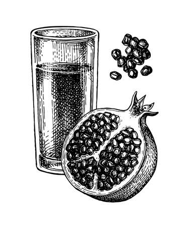 Ink sketch of pomegranate juice.