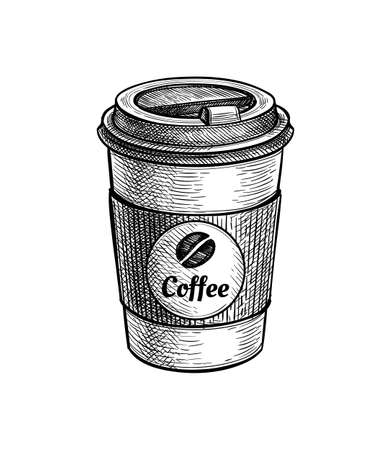 Ink sketch of paper cup with coffee. Illustration