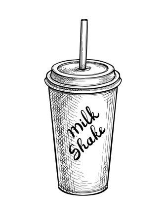 Ink sketch of milkshake.