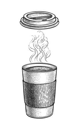 Ink sketch of hot tea with vapor.