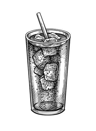 Ink sketch of soda glass. Illustration