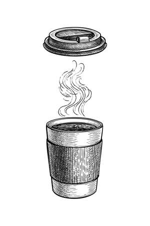 Ink sketch of hot drink with vapor.