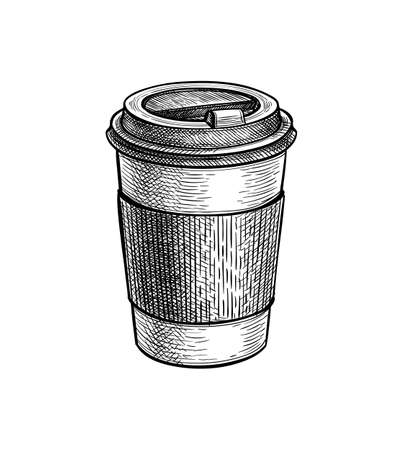 Ink sketch of hot drink in paper cup.