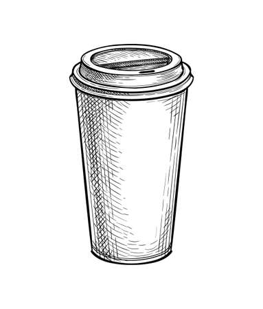 Ink sketch of paper cup with lid.