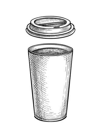 Ink sketch of hot drink in paper cup with lid