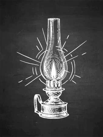 Chalk sketch of kerosene lamp.