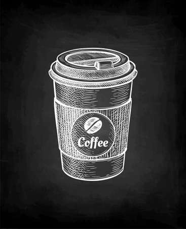Chalk sketch of paper cup with coffee. Иллюстрация