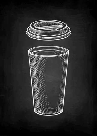 Chalk sketch of coffee in paper cup with lid