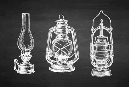 Chalk sketch of kerosene lamps.