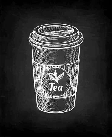 Chalk sketch of tea cup.