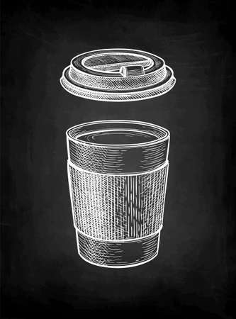 Chalk sketch of hot drink in paper cup. Иллюстрация