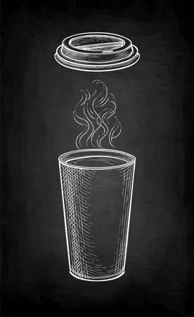 Chalk sketch of hot coffee with vapor.
