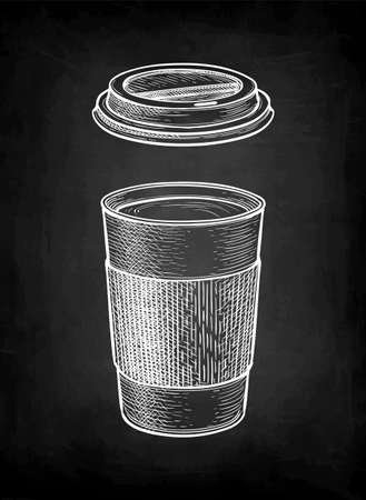 Chalk sketch of hot drink in paper cup. 일러스트
