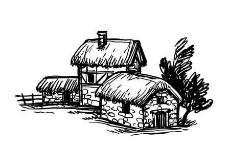 Ink sketch of old European country houses.