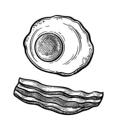 Ink sketch of fried egg and bacon.