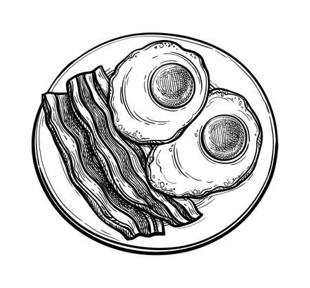 Fried egg and bacon on plate.
