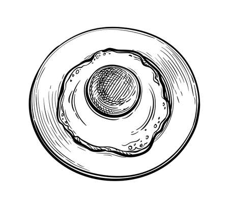 Ink sketch of fried egg on plate.