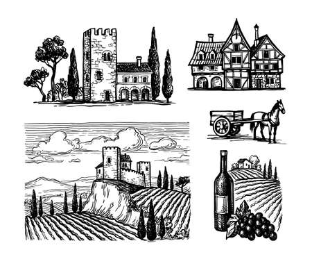 Ink sketches of rural views. Stock Illustratie