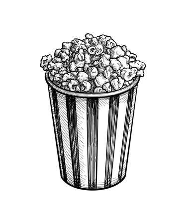 Ink sketch of popcorn.