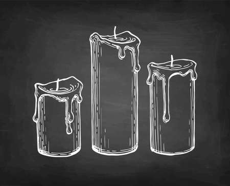 Chalk sketch of thick candles.