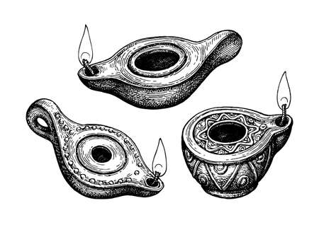 Ancient clay oil lamps.