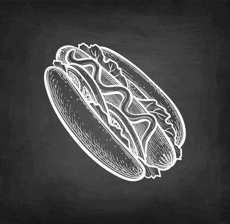 Chalk sketch of hot dog.